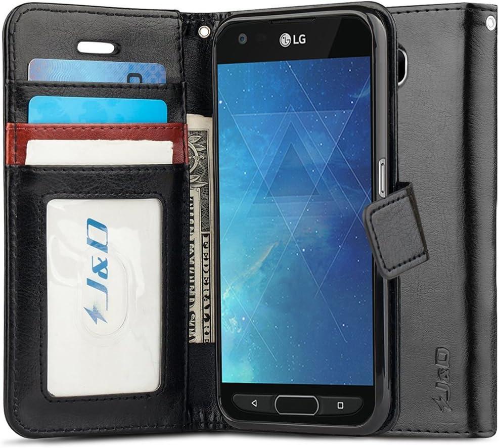 J&D Case Compatible for LG X Venture/LG X Calibur/LG V9 Case, [Wallet Stand] [Slim Fit] Heavy Duty Shock Resistant Flip Cover Wallet Case for LG X Venture, LG X Calibur, LG V9 Wallet Case - Black