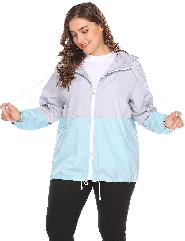 ab959dd5f07 IN VOLAND Women s Plus Size Rain Jacket Lightweight Hooded Waterproof  Active Outdoor Rain Coat