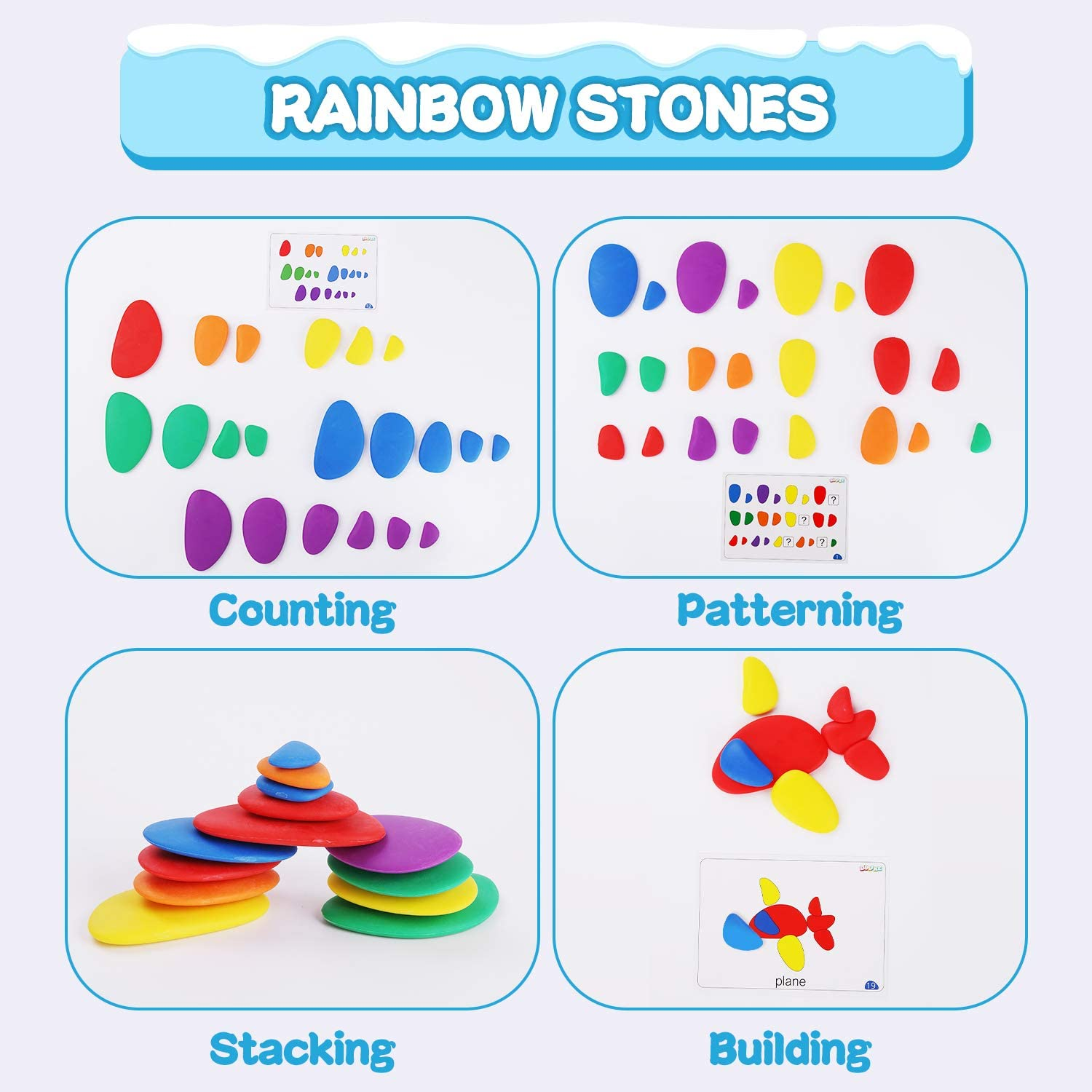 BBLIKE 2 IN 1 Counting Bears /& Rainbow Stones Toys Set with Matching Sorting Cups Perfect Math Skills Games and Shapes Puzzle Montessori Toys for Children Dices and Tweezers Toddler Games