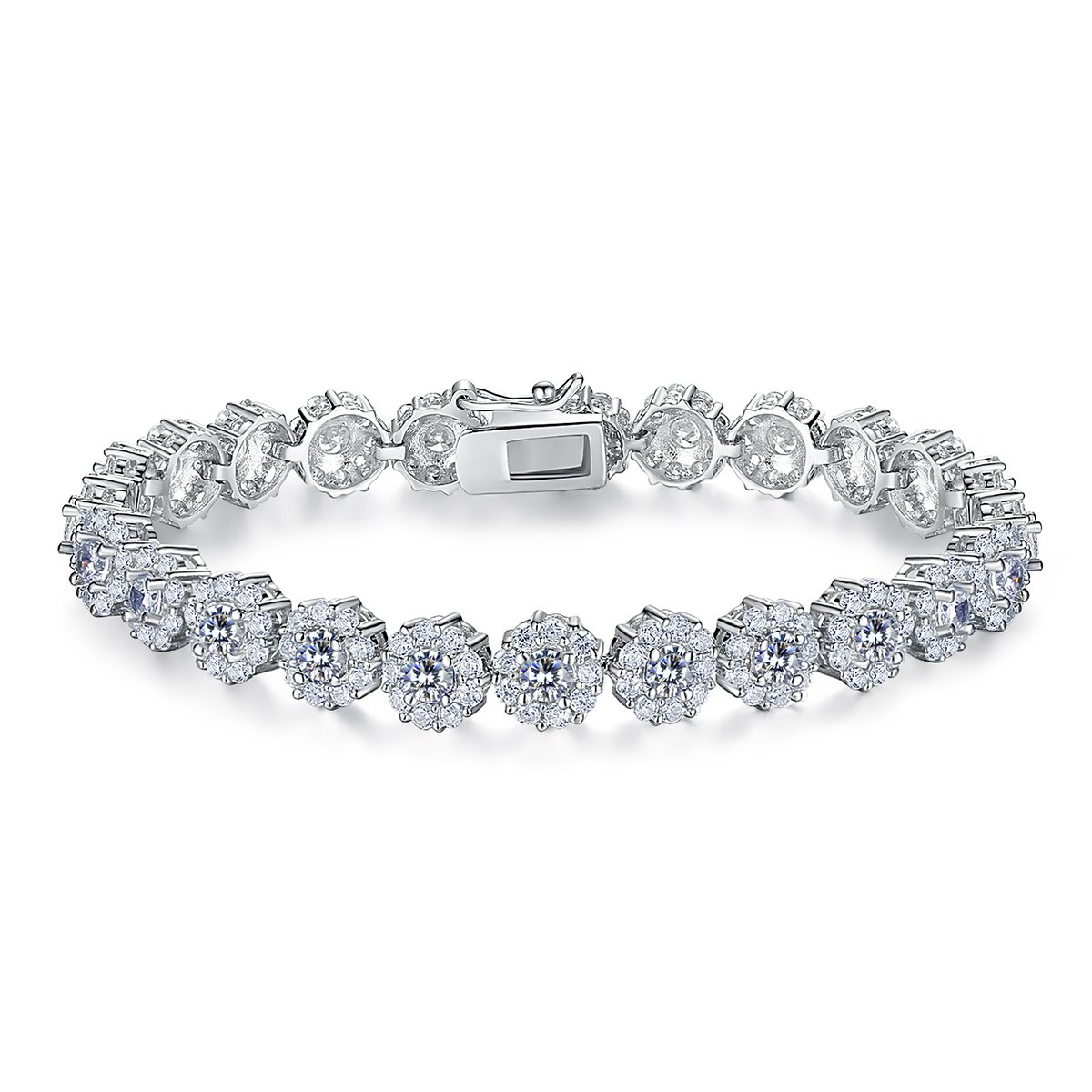 BAMOER Classic Luxury White Gold Plated Bracelet with Sparkling White Cubic Zirconia Stones for Women Grils Perfect Gift for Her 6.7 Inches