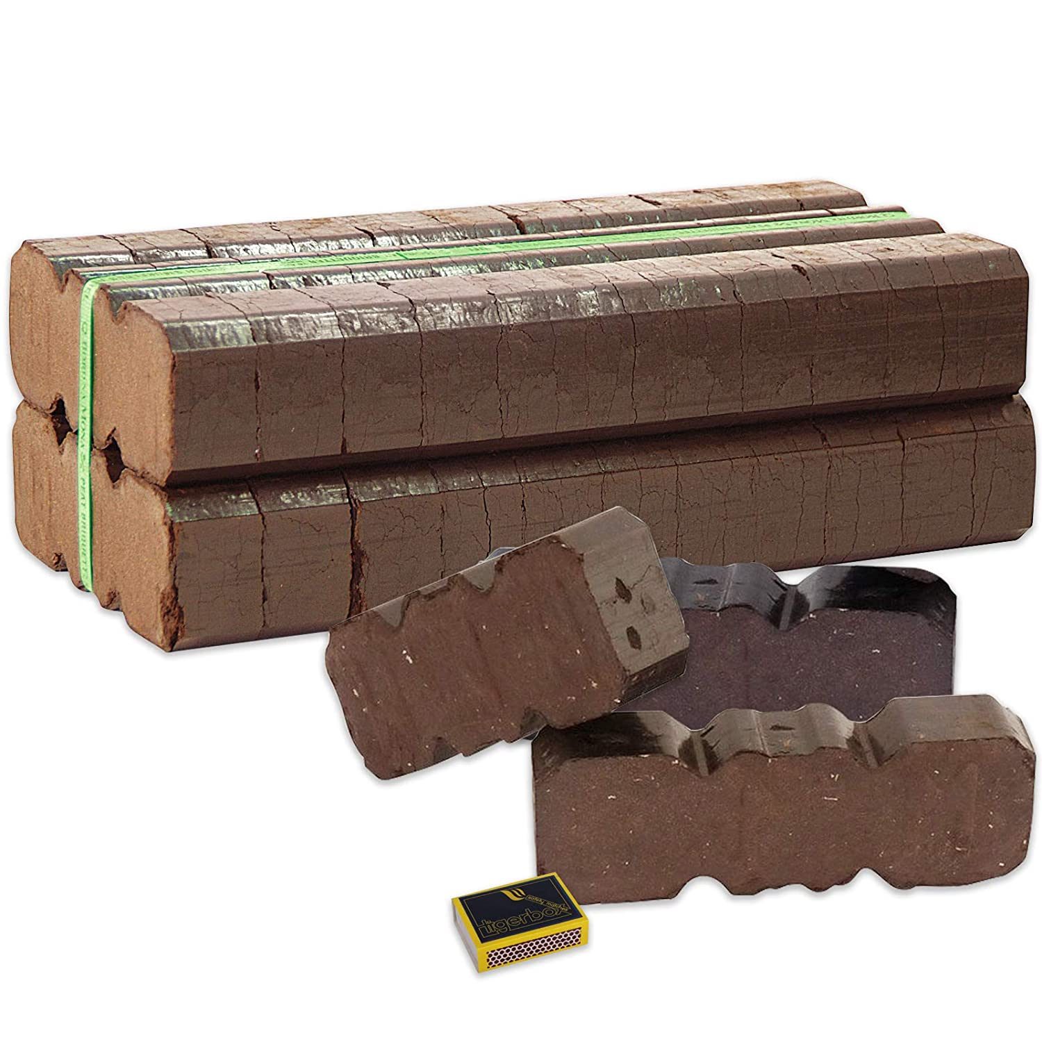2 x 12.5kg Bales of Long Lasting Overnight Peat Block Briquettes for Open Fires /& Log Burning Stoves and Tigerbox Safety Matches