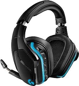 Logitech G935 Wireless Gaming Headset, 7.1 Surround Sound, DTS Headphone:X 2.0, 50mm Pro-G Drivers, 2.4 GHz, Flip-to-Mute Mic, Lightsync RGB, G-Keys, PC/Mac/Xbox One/PS4/Nintendo Switch - Black/Blue