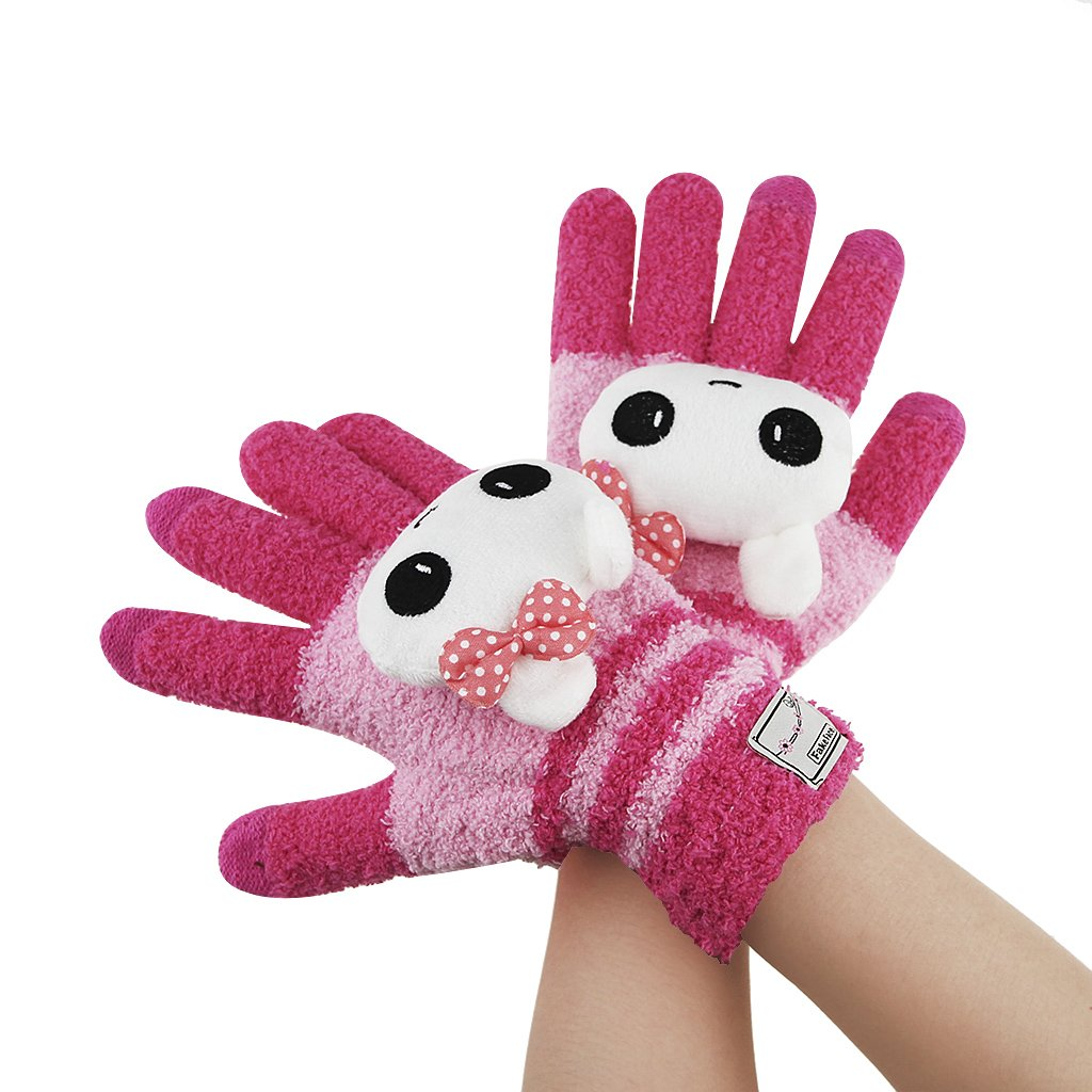 Greenery Cute Winter Wool Touchscreen Gloves Mitten Texting Gloves for Girls//Ladies Great Gift for Christmas Day// New Year Rose Cute Cat iPhone Gloves