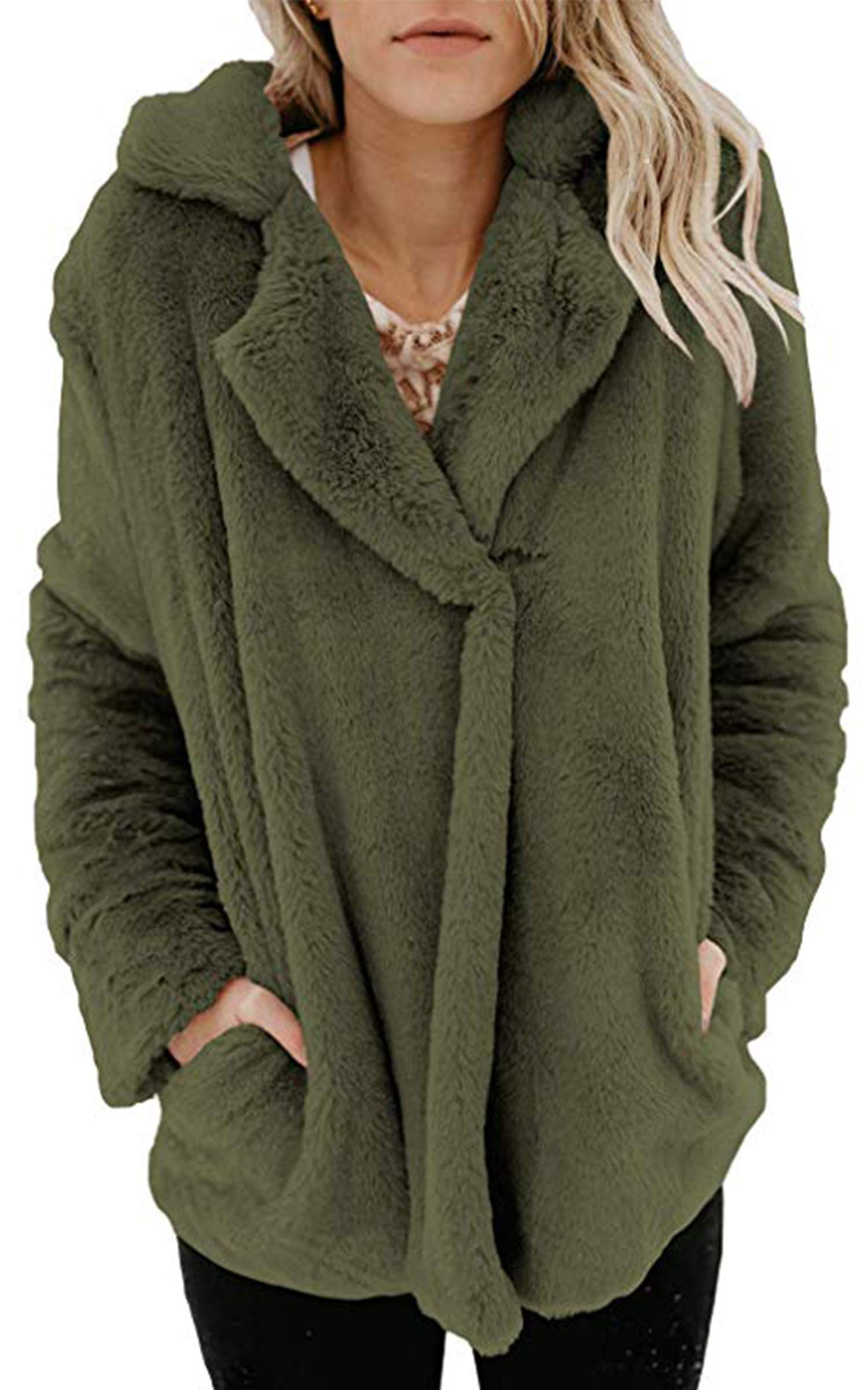 Angashion Women's Long Sleeve Lapel Faux Fur Button Oversized Warm Winter Jacket Coat Outwear with Pockets Army Green L