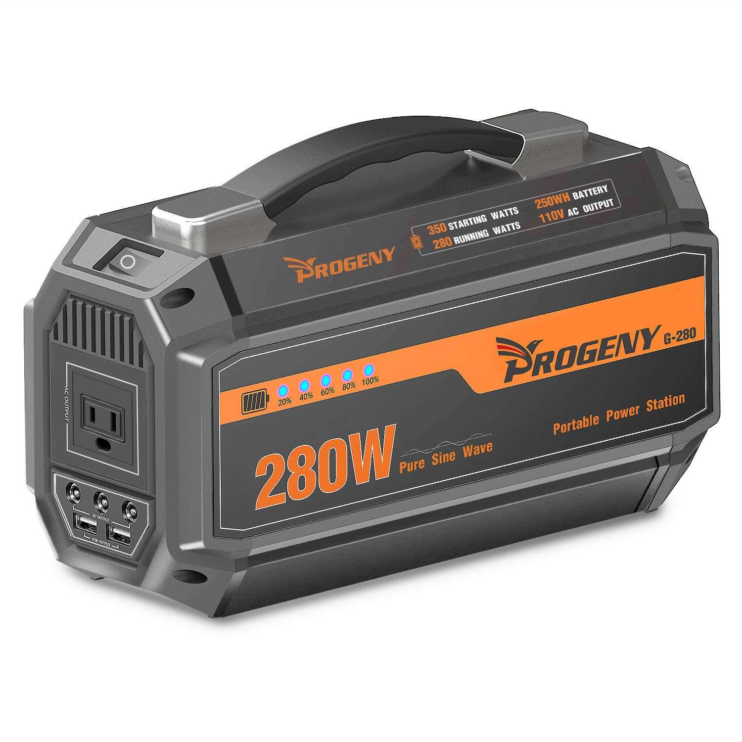 PROGENY 280W Generator Portable Power Station- [ Upgraded 250Wh / 67500mAh ]-Lithium Battery Pack Supply with 110V AC Outlet, 3 DC 12V Ports, 2 USB , Solar Generators for Camping CPAP Emergency Home
