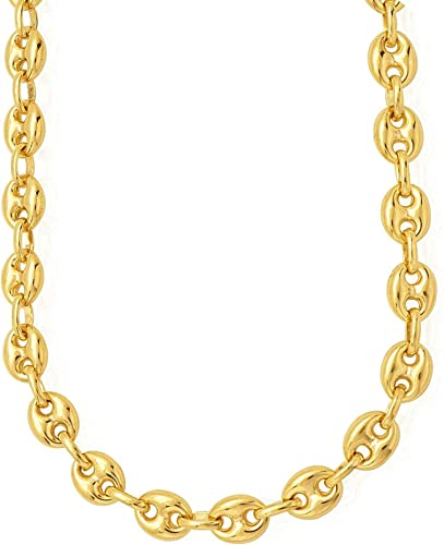 Sterling Silver w// 14k Yellow Gold 8mm Puffed Marina Mariner Link Chain Bracelet
