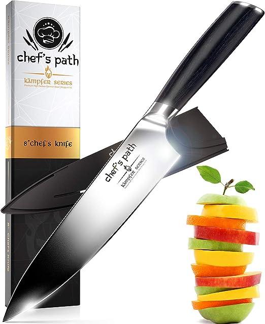 Cuchillo de Cocina, Cuchillo de Chef de 8 Pulgadas - Cuchillo de Chef Profesional - Acero Inoxidable de