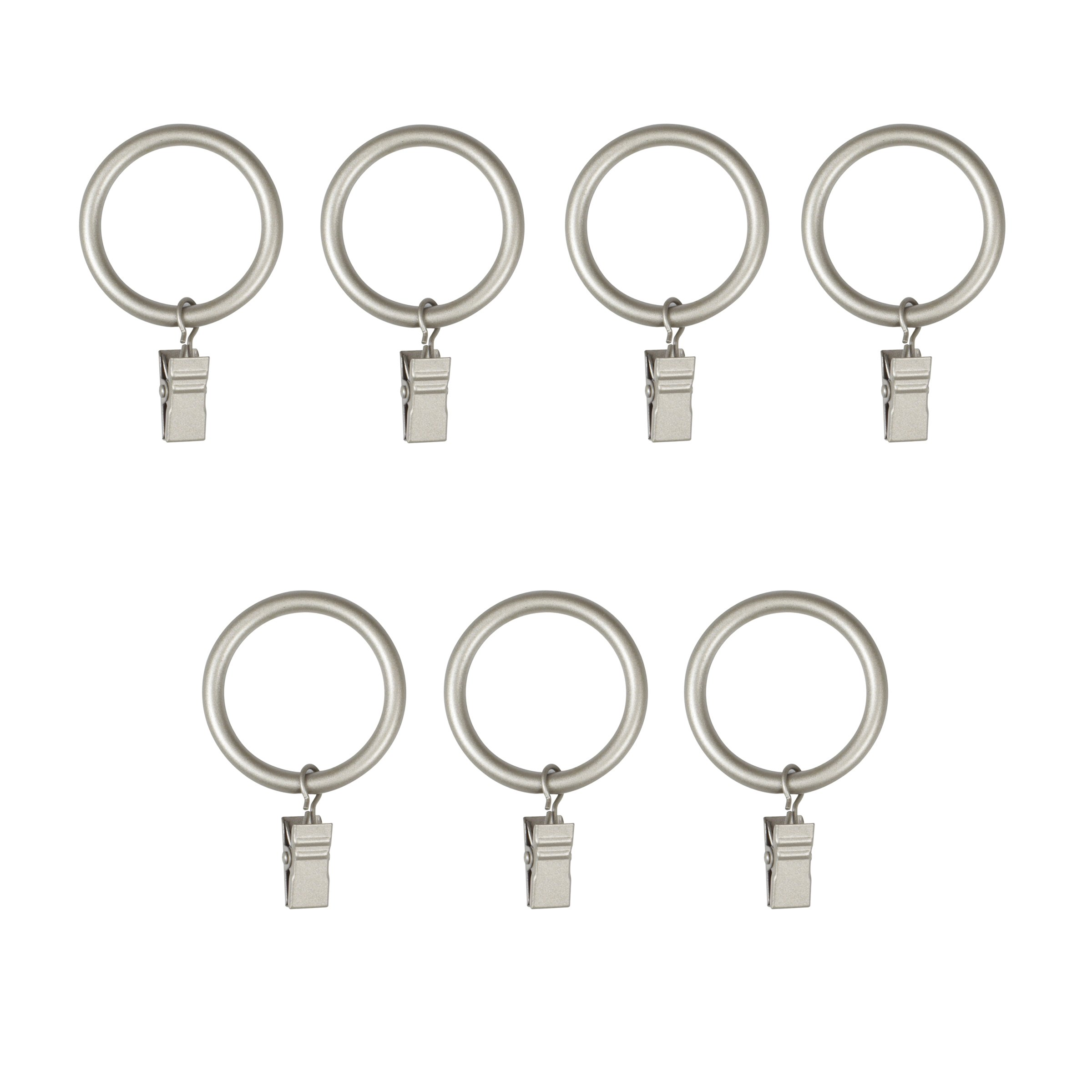 Umbra Clip Curtain Rings – Extra Large Curtain Rings with Metal Clips for 1.25 Inch Curtain Rods, Set of 7, Nickel