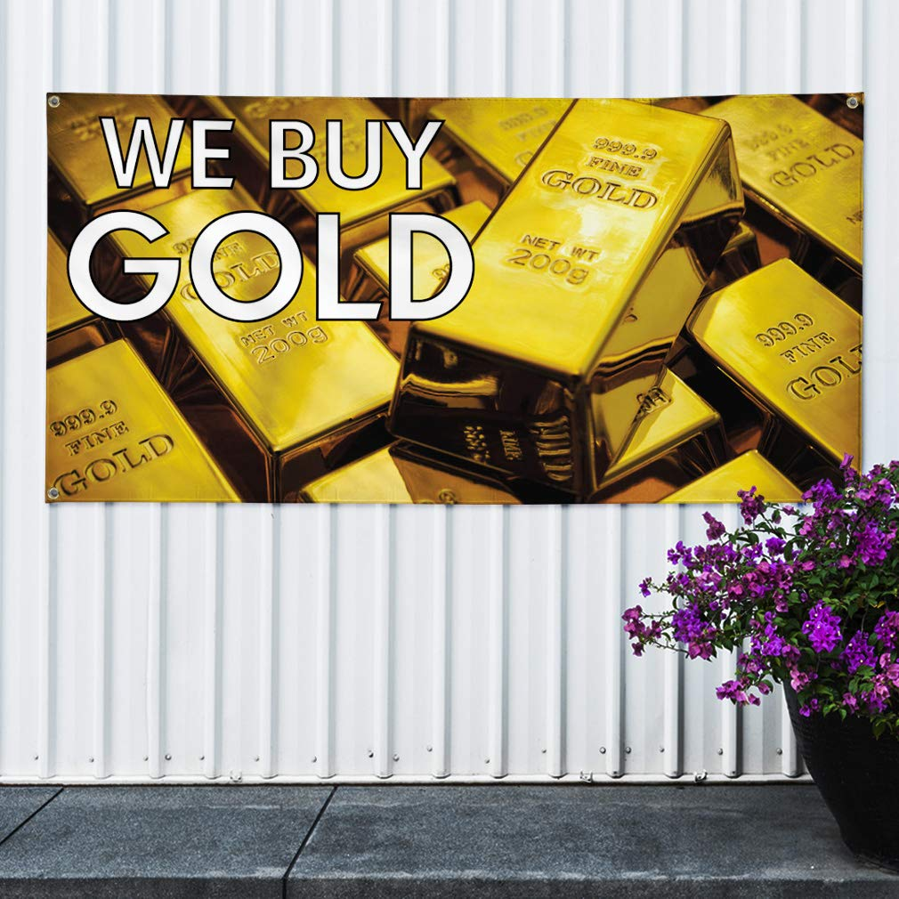 44inx110in Vinyl Banner Sign We Buy Gold #1 Style B Business Outdoor Marketing Advertising White One Banner Multiple Sizes Available 8 Grommets