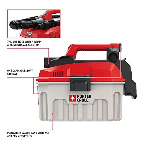PORTER-CABLE 20V MAX Cordless Shop Vacuum, Wet Dry, 2-Gallon, Tool Only PCC795B