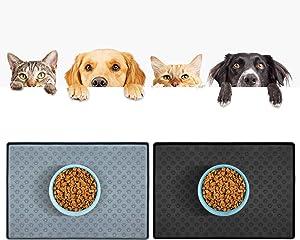 AMAMIA Pet Feeding Mat,Non-Slip,Anti-Spill Dog Cat Food Mat,Waterpoof Silicone Bowl Mat