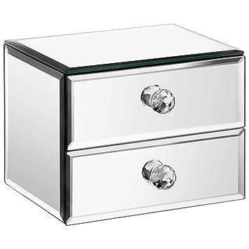 Beau Beautify Mirrored Glass Fashion Jewelry Organizer Storage Box With 2  Drawers, Velvet Lining And Glass