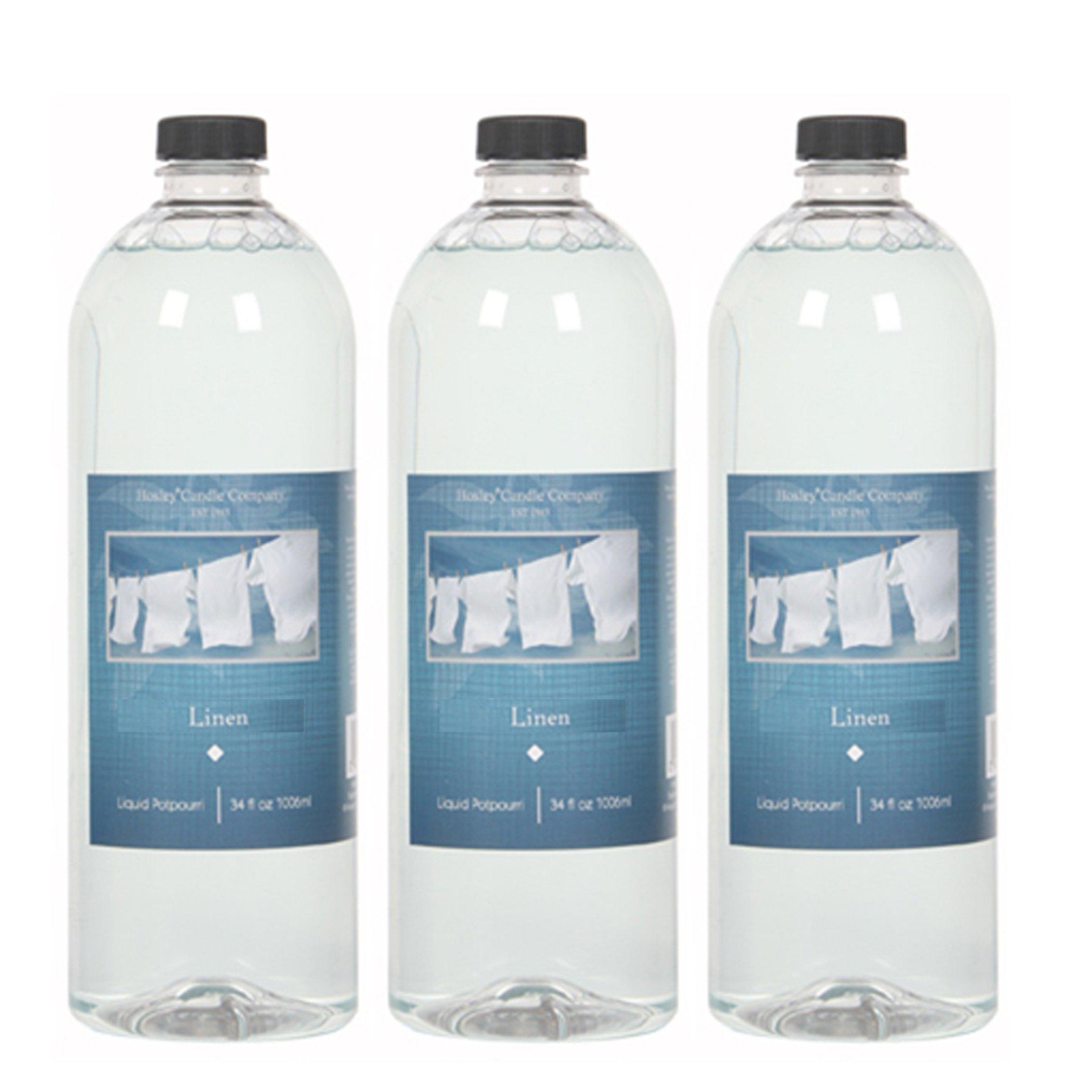 Hosley Premium Grade Candle Company Linen Liquid Potpourri for Aromatherapy, 34 oz, Case of 3