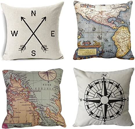 Wonder4 Geography Theme Throw Pillow Covers Home Decorative Map Art Throw Pillow Cases Couch Covers Decoration 2x Maps 1x Compass 1x Navigation Compass For Home Sofa Bedding Set Of 4 18 X18