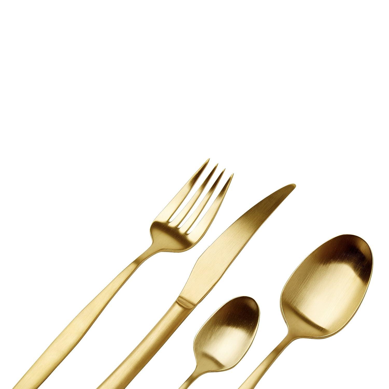 SWOON Juego de cubertería de 16 Piezas Lenna 4 Personas, de Acero Inoxidable con Recubrimiento de Titanio en Color Dorado Mate: Cuchillos, Tenedores, ...