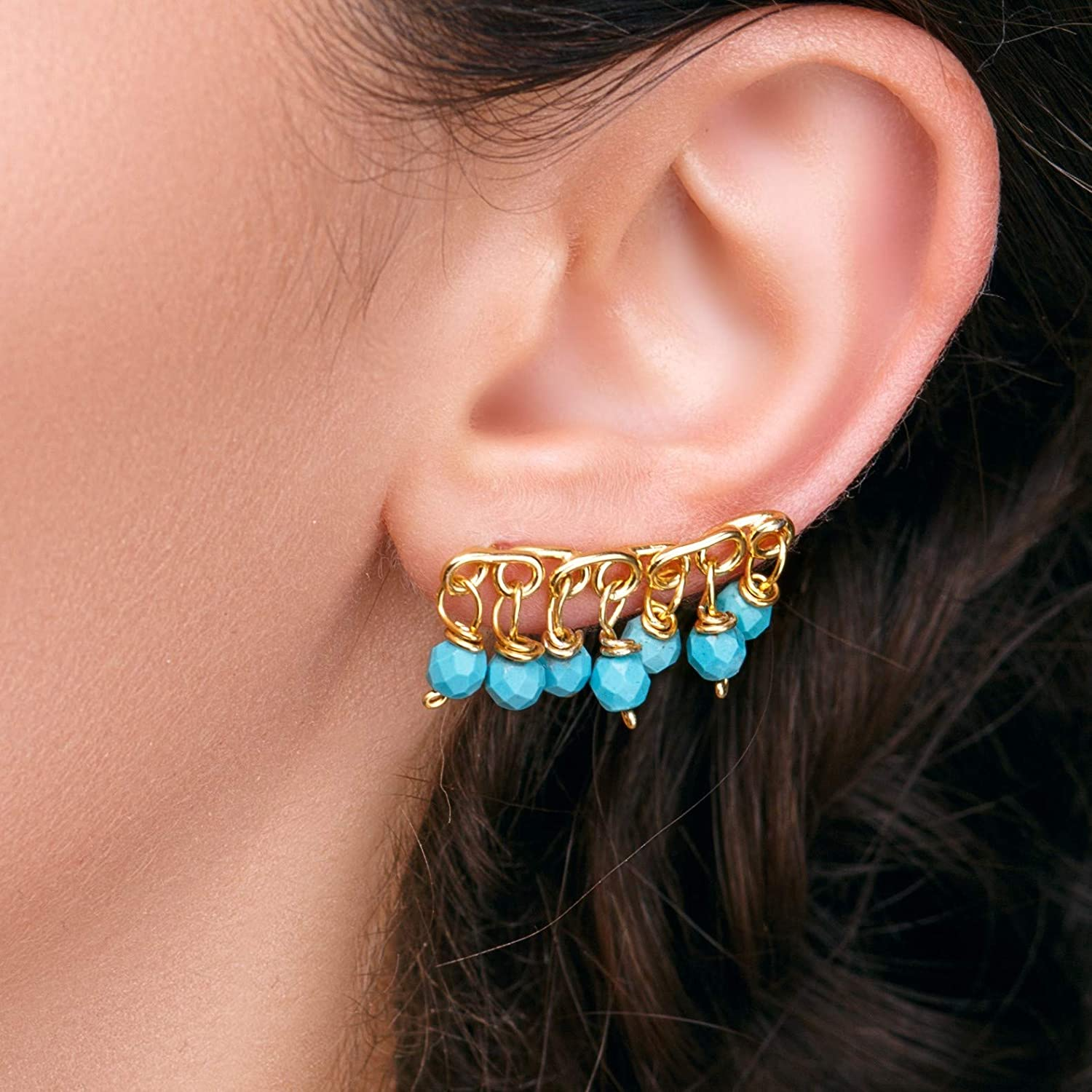 Turquoise ear cuff earrings, turquoise jewelry, boho earrings, gypsy earrings, turquoise earings, boho ear climbers, ear crawlers, gift