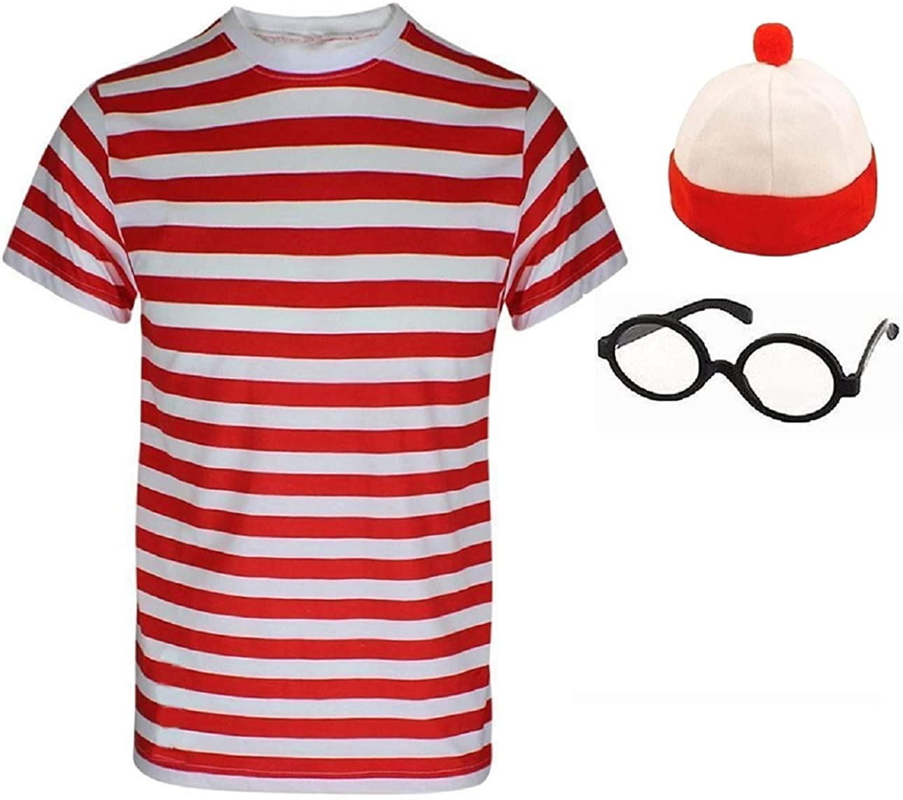 WHERES FIND ME RED WHITE STRIPE BOBBLE HAT GLASSES WORLD BOOK DAY CHILD/'S WALLY