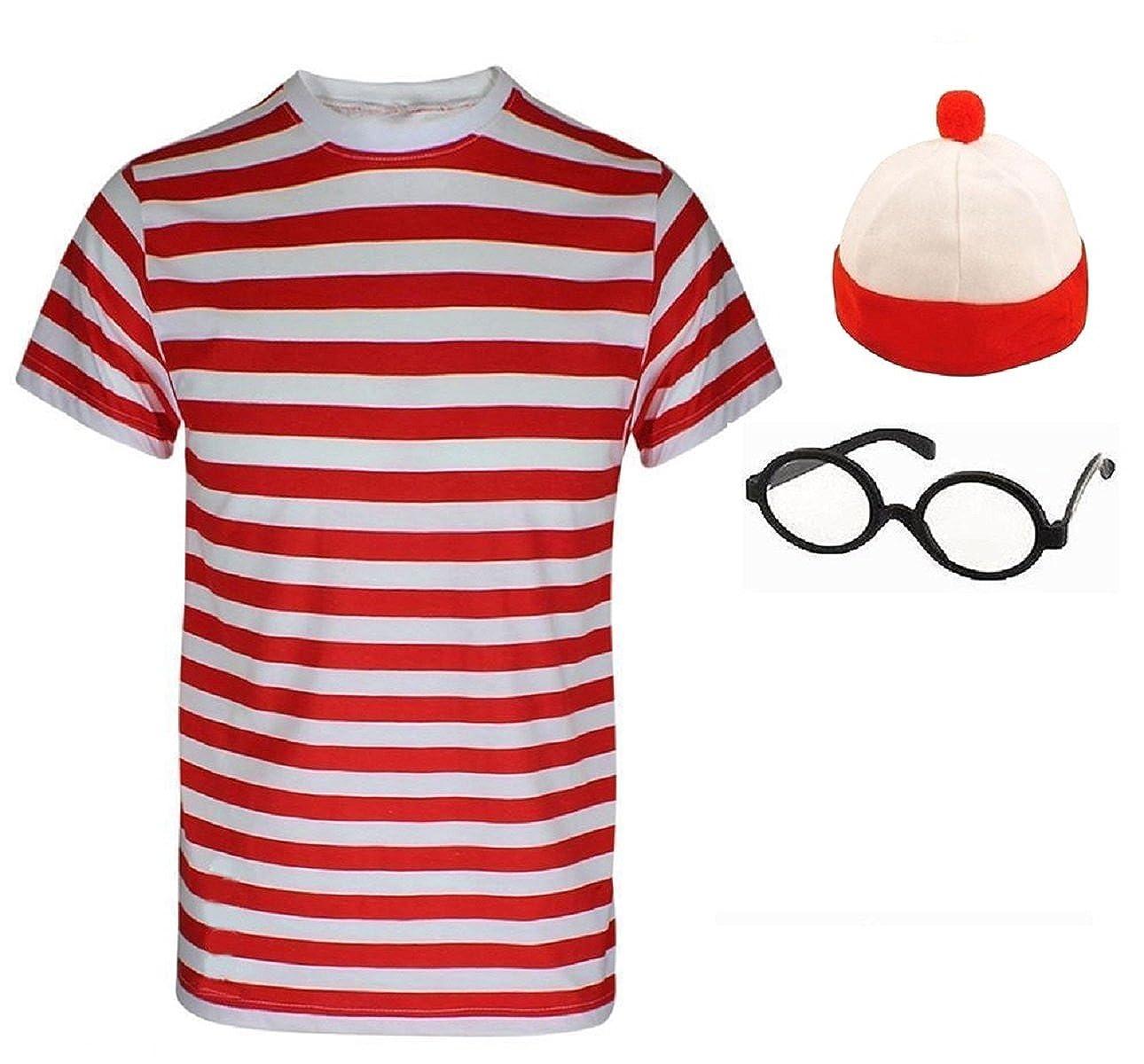 Disfraz para mujer y hombre, de color rojo y blanco, a rayas, set ...