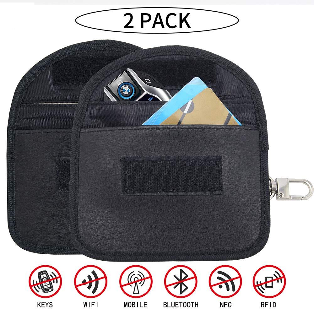 2 x Blocco Chiave Auto Custodia per Segnale Caso di Blocco Segnale Chiave Auto RFID Borsa di Blocco per Chiavi della Macchina Carta di Credito Antifurto WiFi NFC RF Bloccare Custodia