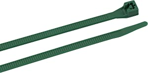 Gardner Bender 46-308G Cable Tie, 8 inch, 75 lb, Electrical Wire and Cord Management, Nylon Zip Tie, 100 Pk, Green