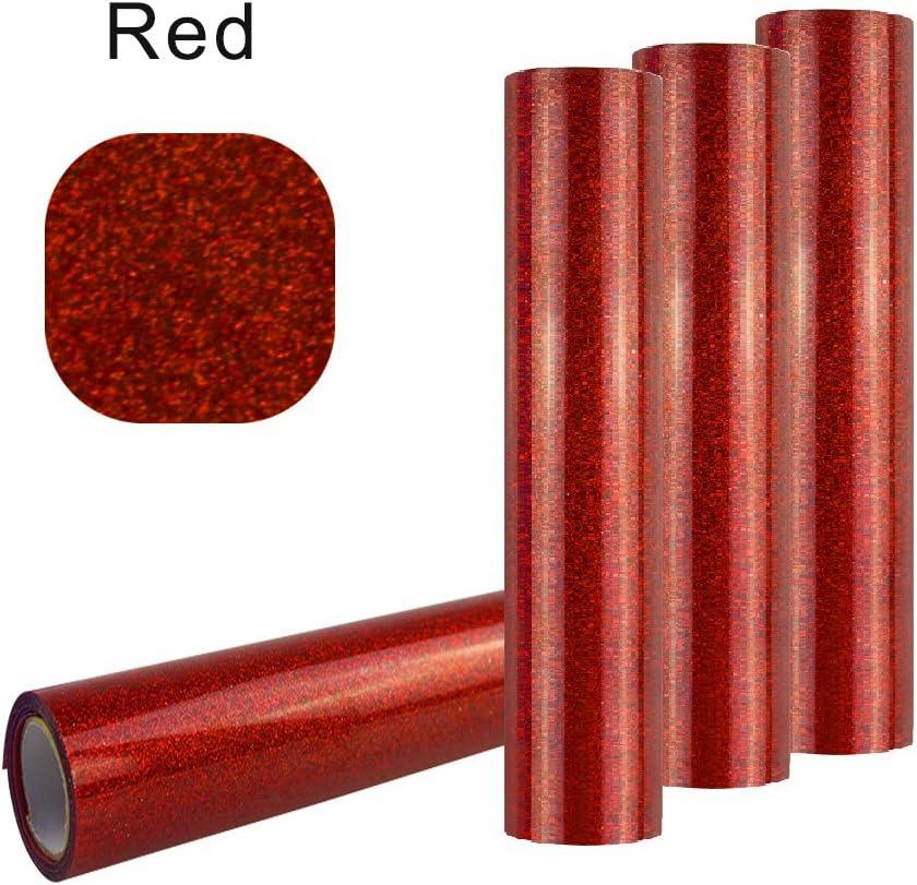 Con purpurina vinilo transferencia de calor (50cmx100 cm), BUTEFO Glitter transferencia de calor de vinilo película calor prensa corte Plotter de Corte por DIY camiseta rosso: Amazon.es: Hogar