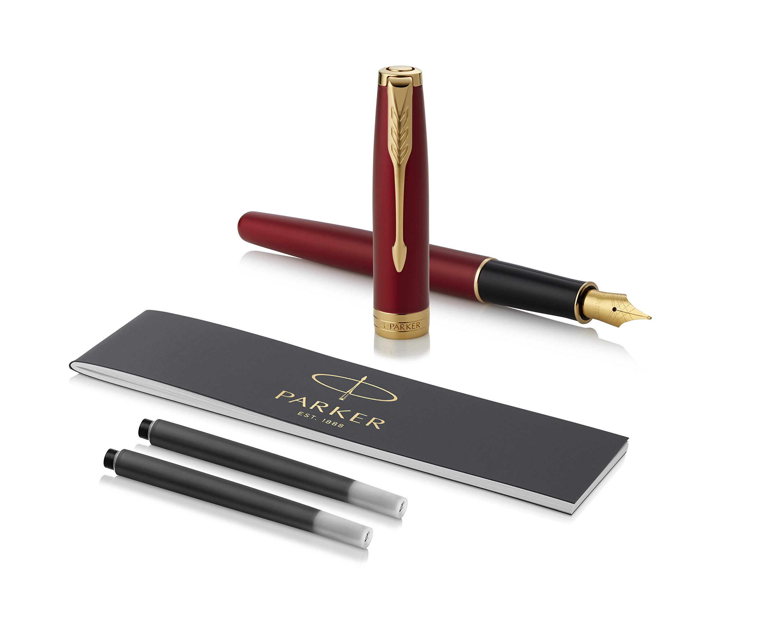 PARKER Sonnet Fountain Pen, Red Lacquer with Gold Trim, Medium Nib (1931474) by Parker (Image #1)