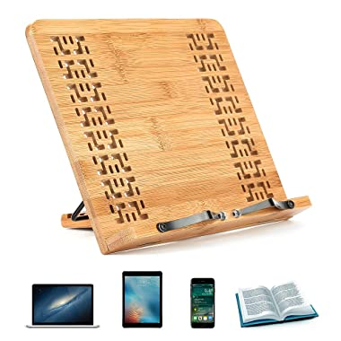 Hereubuy Bamboo Book Stand Reading Rest Holder Cookbook Cook Stand/Music Document Stand/Desk Bookrest with Retro Hollow Elegant Pattern (Medium, 13.4''x9.4''x1.7'')