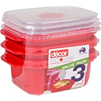 Décor 124850-004 375mL Microsafe Microwave Food Container, Red