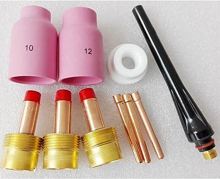 TIG-17//18//26 Kit de antorcha de soldadura Accesorios TIG Torch Gas Lens Collet Copa de vidrio 1.6MM