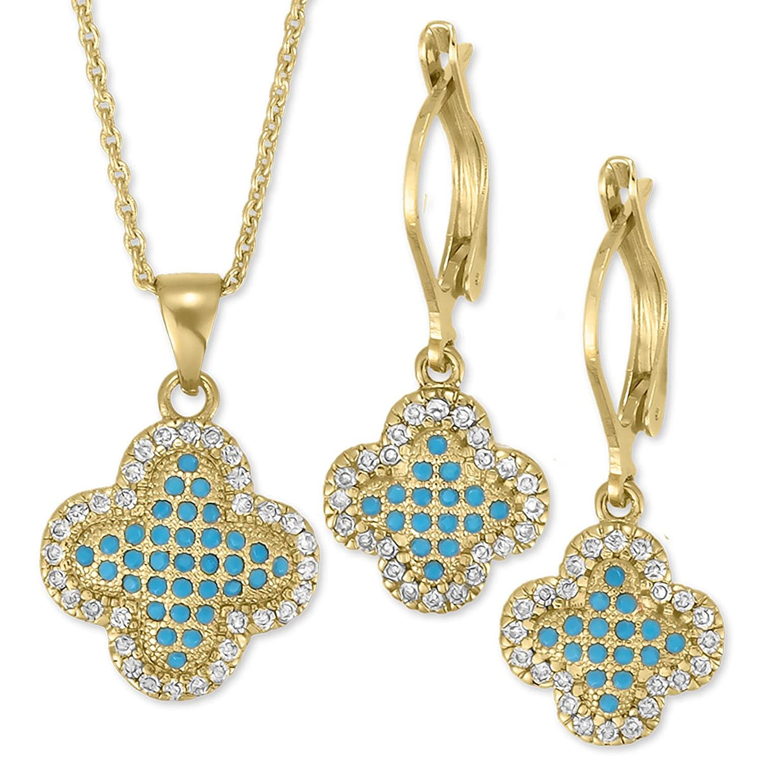 Orotex Inc. 14K Yellow Gold Plated Cubic Zirconia and Teal Clover Leaf Set For Women