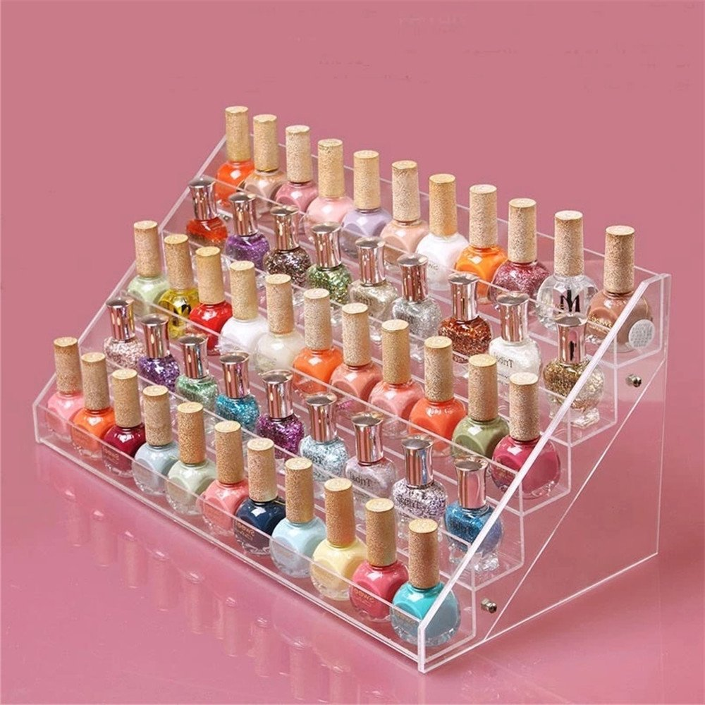 Sooyee 72 Bottles Acrylic 5 Layer Nail Polish Rack Tabletop Display Stand,Clear 5 Tier Lipstick Holder Essential Oils Shelf 15.7×7.8×7.5 Inch,Pack of 1