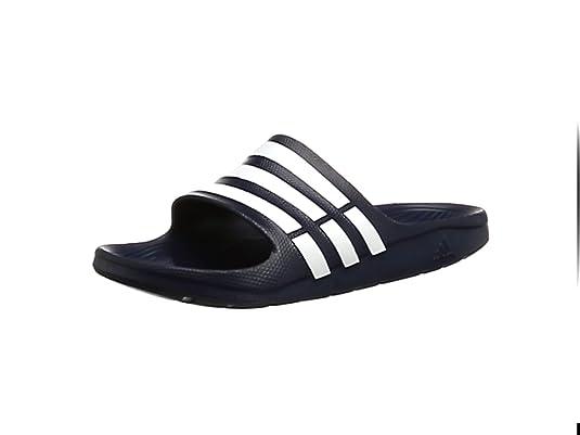on sale 1b1a4 b99f6 adidas Duramo Slide, Chanclas Unisex, Azul (New NavyWhiteNew Navy