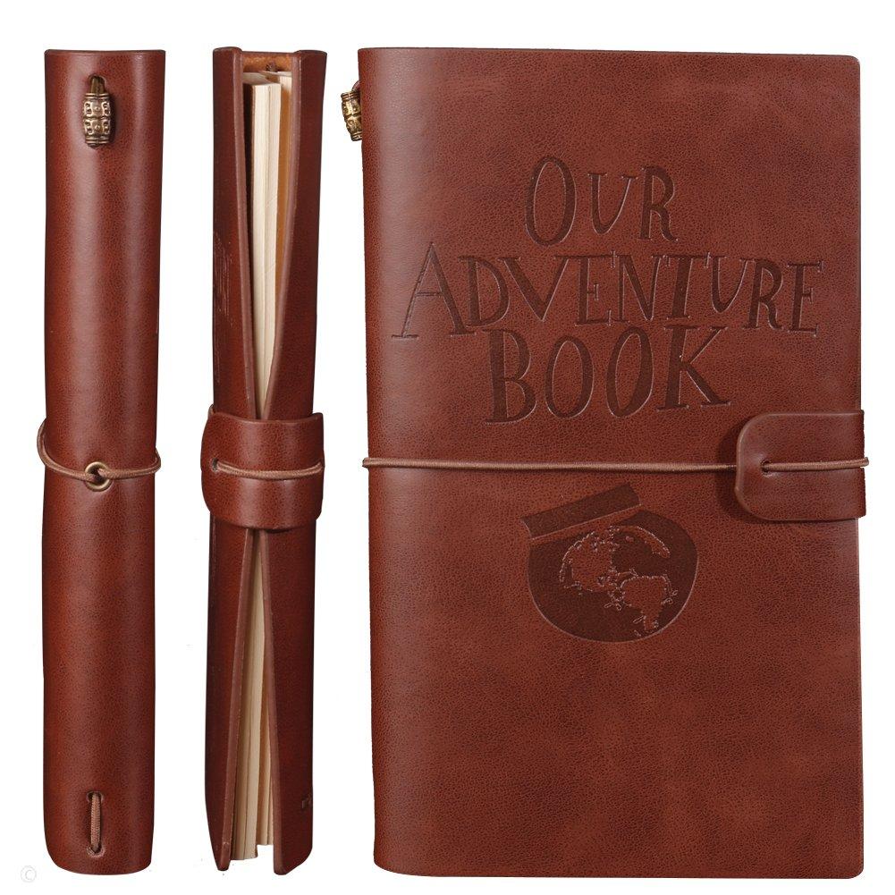 Nuestro libro de aventuras Diario recargable Cuaderno de cuero Diario de viaje Con ranuras para tarjetas y Bolsillo con cremallera Regalo ...
