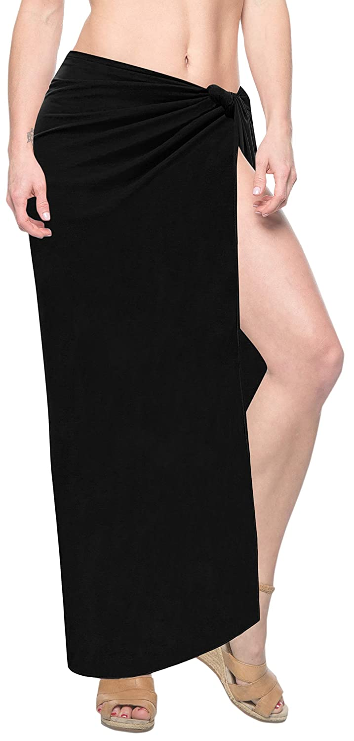 c8b5716843ee LA LEELA Women's Plus Size Sarong Swimsuit Cover Up Beach Wrap Skirt Solid  Plain at Amazon Women's Clothing store: