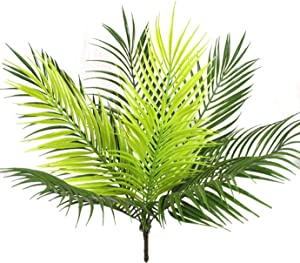Artificial Tropical Palm Plants, CATTREE Plastic Shrubs Fern Leaves Grass Coconut Tree Fake Bushes Indoor Outdoor Home Garden Verandah Office Table Centerpieces Arrangements DIY Decoration - 1 Pack