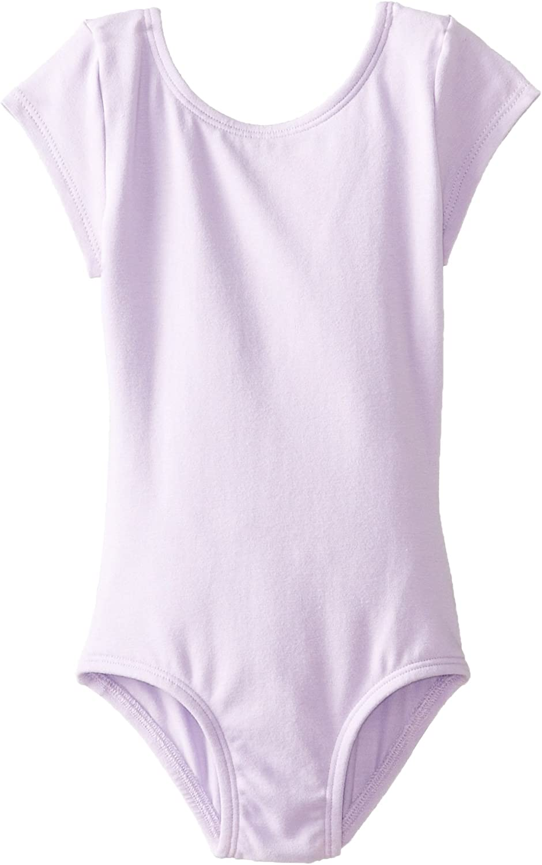 Clementine Girls Short Sleeve Scoop Neck Ballerina One Piece Leotard Dancewear Costume