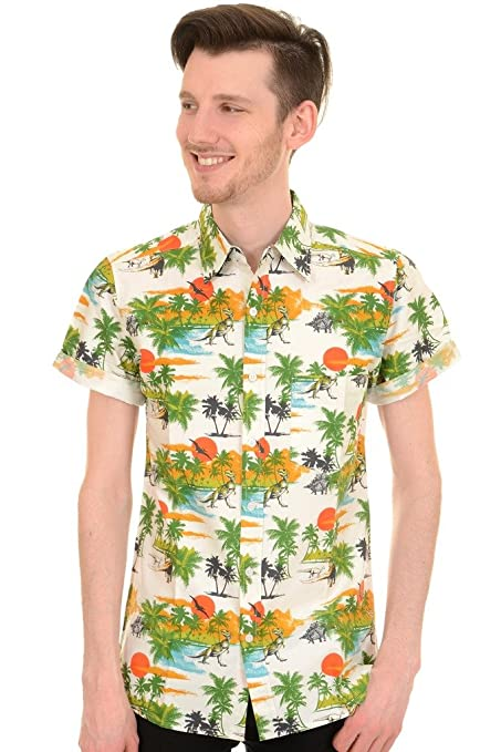 1960s Style Men's Clothing, 70s Men's Fashion Mens Run & Fly Retro Dinosaur Hawaiian Beach Shirt $34.95 AT vintagedancer.com
