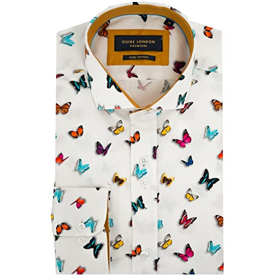 9d049bbace8 Guide London Cotton Sateen Butterfly Print Mens Shirt 3XLarge Multi ...