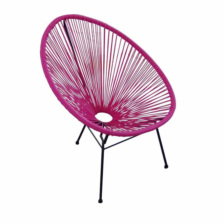 Acapulco Chair Modern Patio Lounge on Black Frame 2 Pink