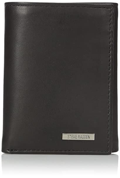 74f0e3bfae Steve Madden Men's RFID Blocking Leather Trifold Security Wallet, Black,  One Size