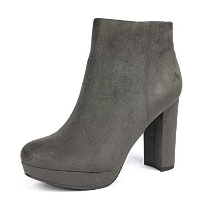 28b6abd3d7f5 DREAM PAIRS Women s Stomp Grey High Heel Ankle Bootie Size 5 B(M) US