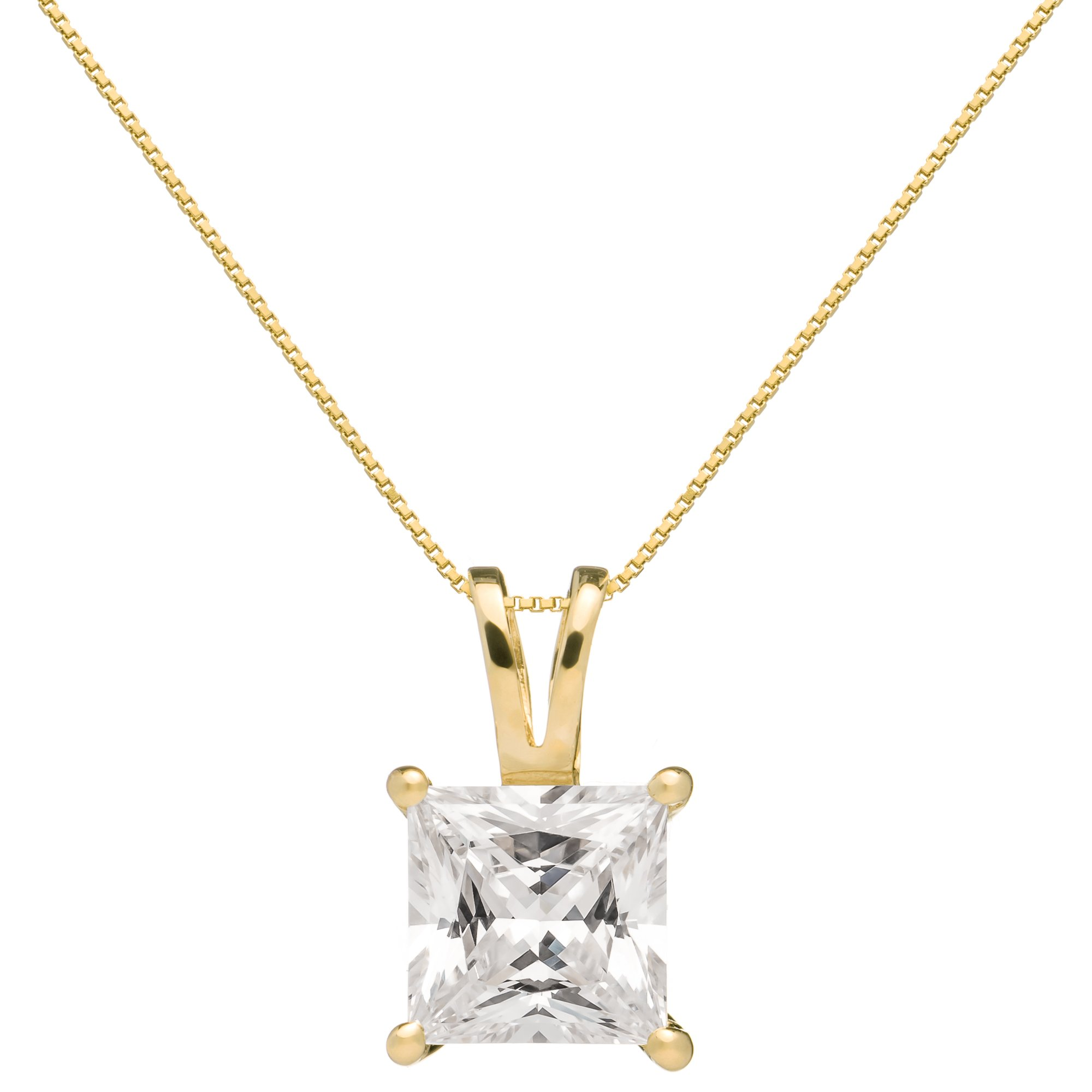 14K Solid Yellow Gold Princess Cut Cubic Zirconia Solitaire Pendant Necklace (2 Carat), 16 inch .50mm Box Link Chain, Gift Box by Everyday Elegance Jewelry (Image #1)