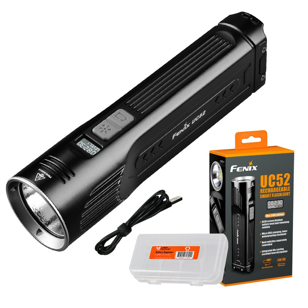Fenix UC52 3100 Lumen High Performance Rechargeable Flashlight with OLED Display and Lumen Tactical Organizer - Designed for Hiking, Camping, Searching, and Hunting