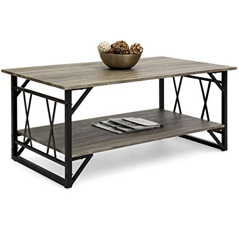 Best Choice Products Modern Metal And Wooden Coffee Table