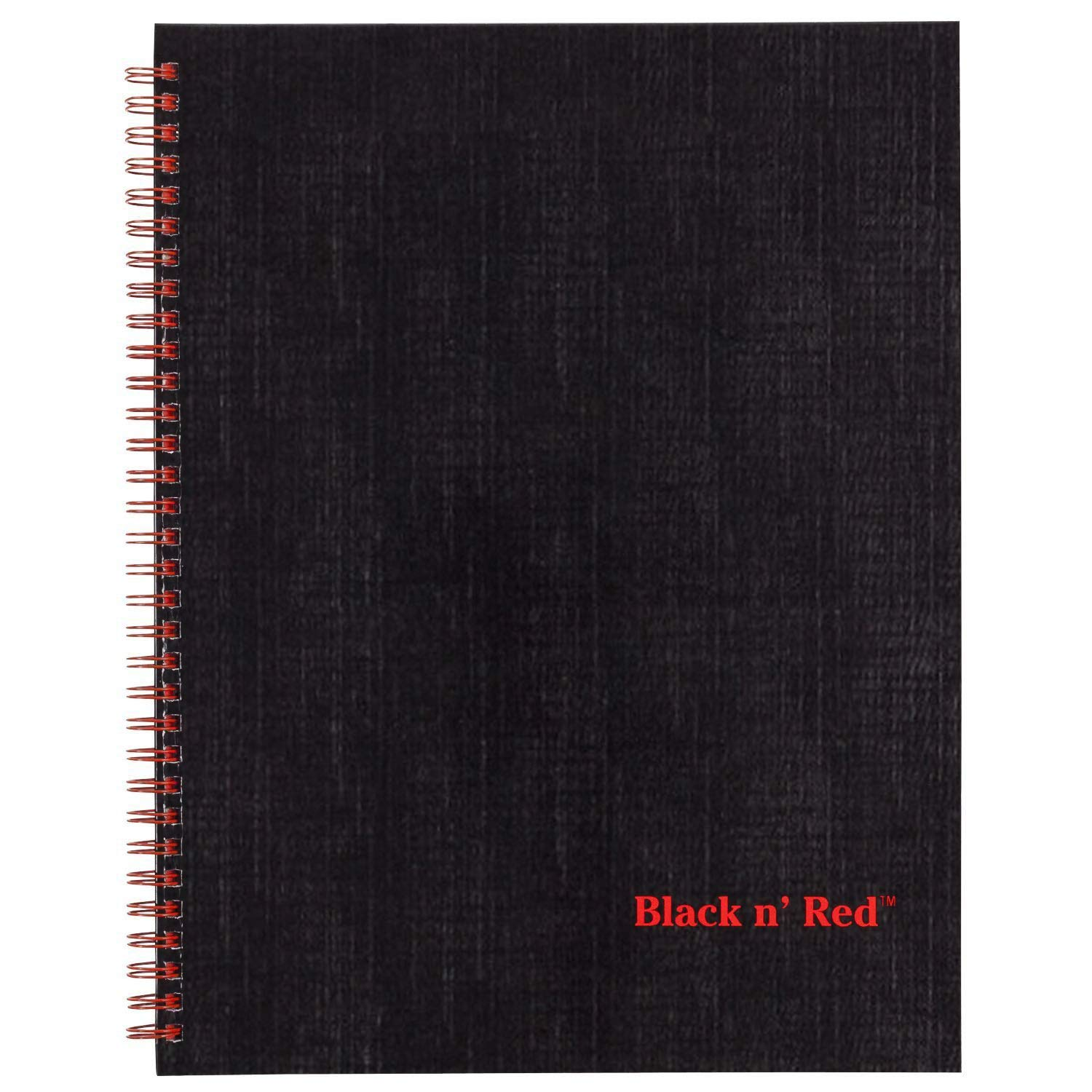 Black n' Red Twin Wire Hardcover Notebook, 11'' x 8-1/2'', Black/Red, 70 Ruled Sheets (K67030)