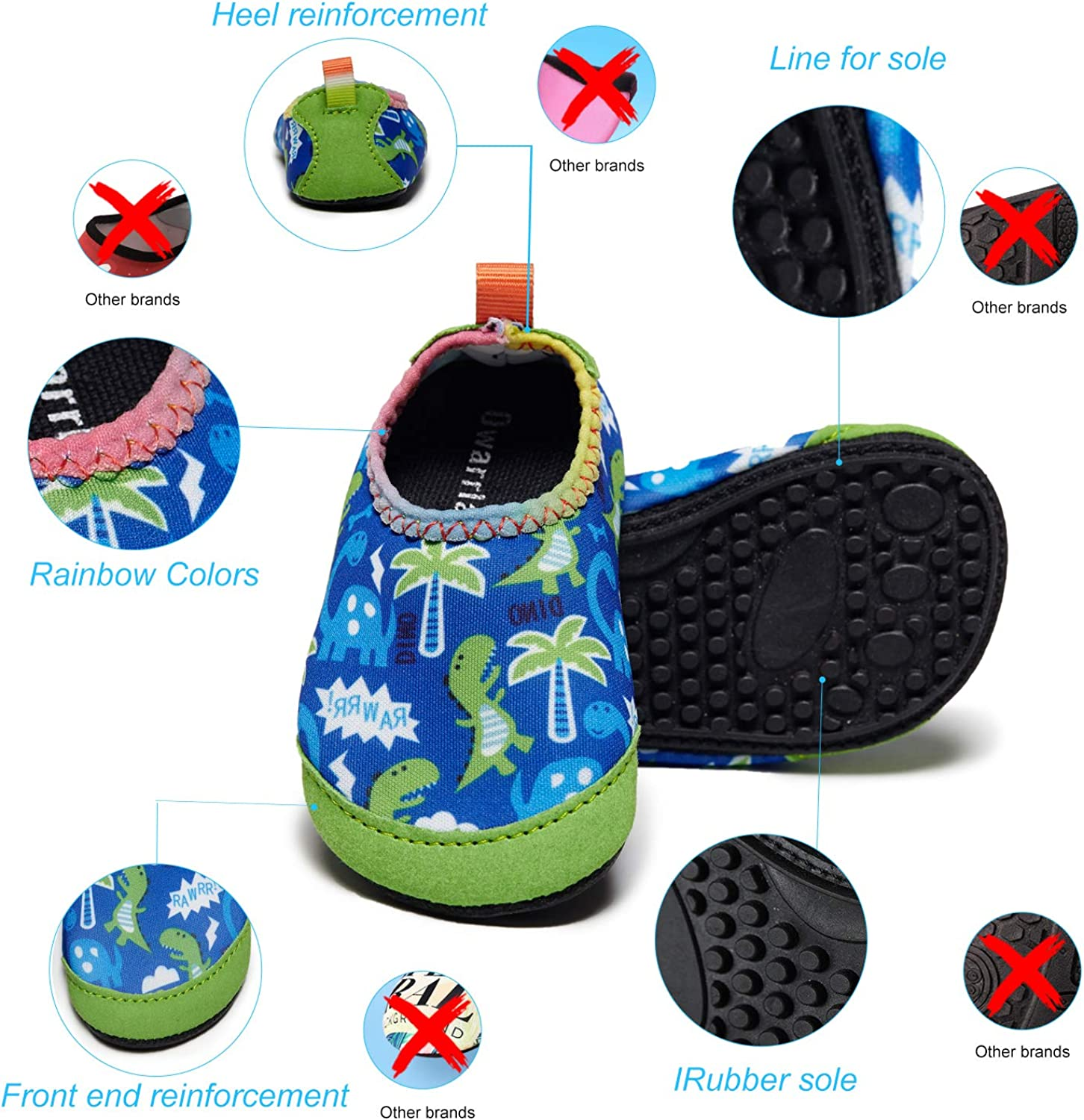 Owarrla Water Shoes Toddlers Barefoot Quick-Dry Aqua Yoga Socks Slip-on for Baby Kids Boys Girls