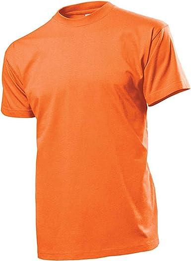Camiseta naranja para hombre, camisa de cuello redondo 100% algodón de hilo, jersey individual 185 g-m2 – Camiseta #12821: Amazon.es: Ropa y accesorios