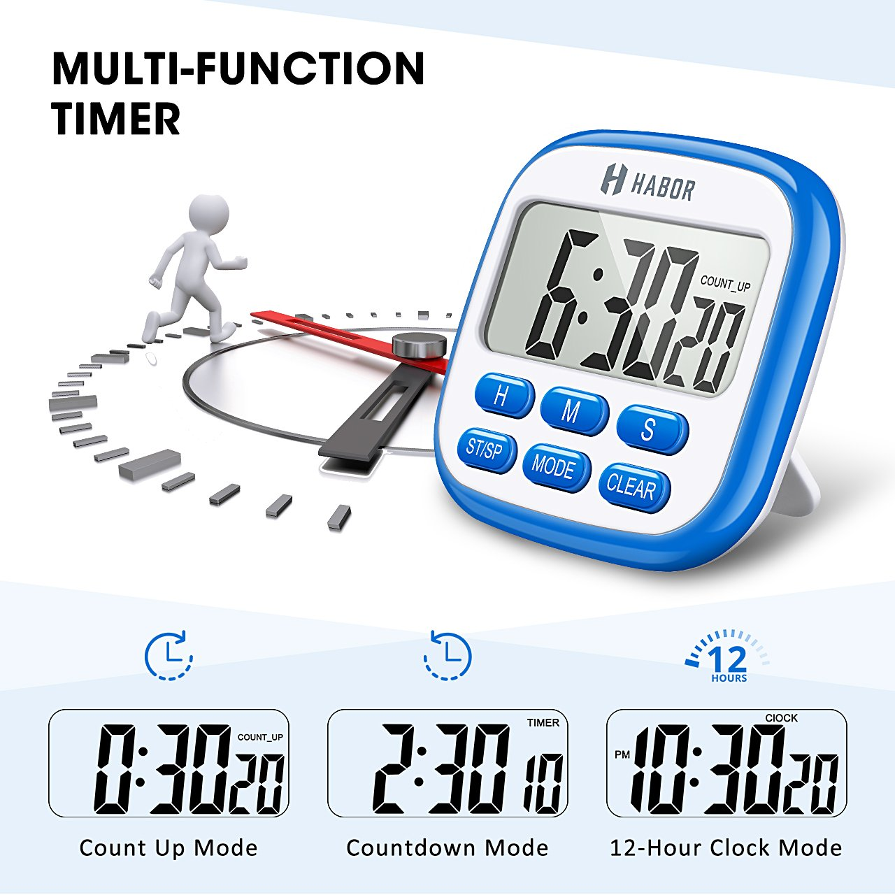 Strong Magnet Back Cooking Timer Count-Up /& Count Down for Cooking Baking Sports Games Office Habor HCP4L Kitchen Cooking Timers Memory Function Habor Digital Kitchen Timer Large Display 12-Hour Display Clock Loud Alarm