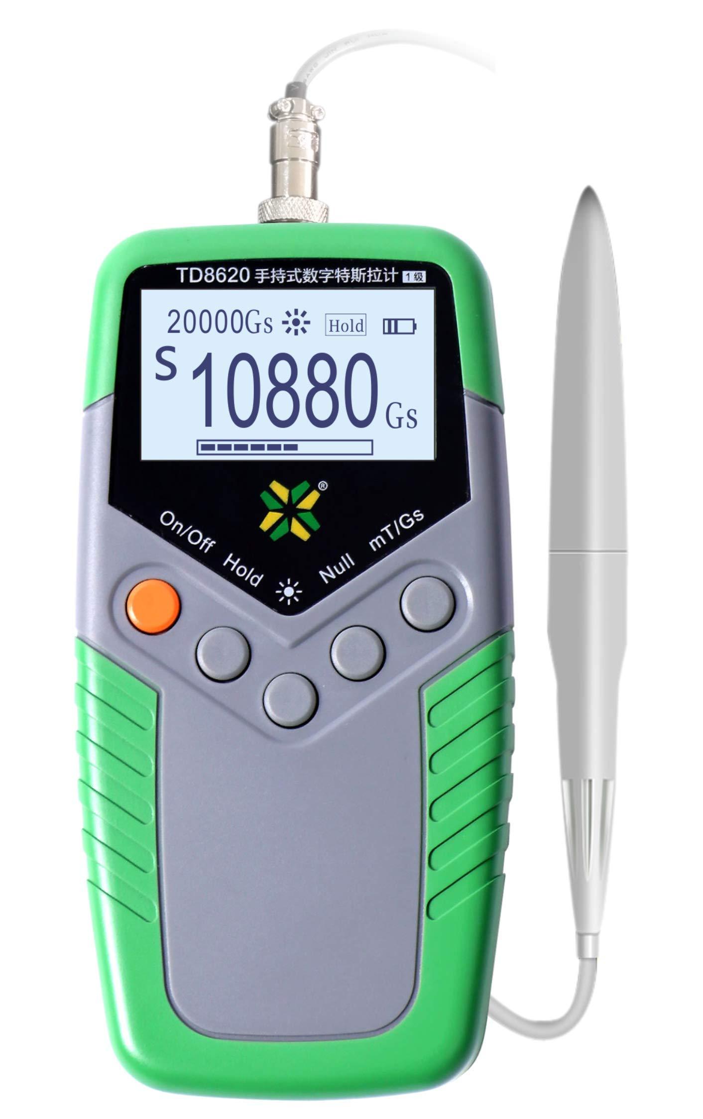 MeterTo Digital Handheld Digital Tesla Meter TD8620-5 Gauss Meter 200 mT - 2000 mT Accuracy ±5%