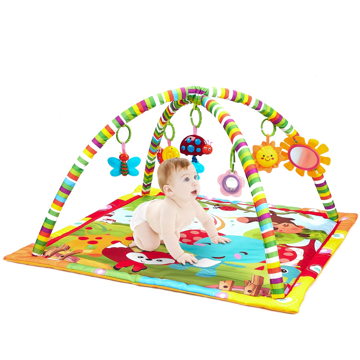 New Born Baby Playmat, Play Gym, Musical Activity Gym,Soft Toy, Fun Animals,Music,Textures,Rattle,Teethers, Mirror, Discovery Carpet for Infants Toddlers Newborn Kick and Playmat 0-36 Months Tech Traders